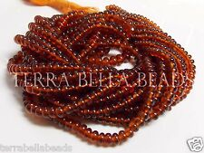 "7"" half strand graduated AAA HESSONITE GARNET smooth rondelle beads 3mm - 4.5mm"