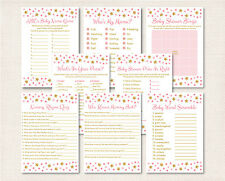 Twinkle Star Pink & Gold Baby Shower Games Pack - 8 Printable Games