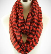 Orange and Brown Crinkle Infinity Scarf