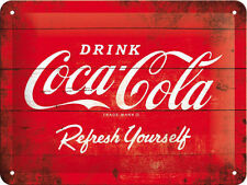 Coca Cola, Drink Logo Refresh, Retro Wood effect, Small 3D Metal Embossed Sign