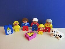 DUPLO lego FAMILY FIGURE SET mum dad girl baby dog grandma FOR HOUSE lot 326