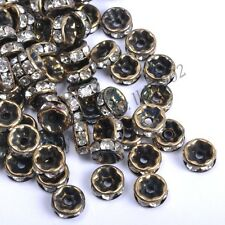 100Pcs GOLD & SILVER & BRONZE Czech Crystal Rhinestone Rondelle Spacer Beads