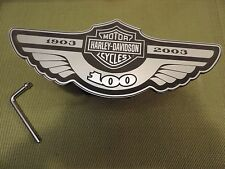 "HARLEY DAVIDSON 100TH ANNIVERSARY 2"" TRAILER HITCH COVER ACRYLIC & STAINLESS"