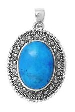 Silver Pendant with Marcasite Pendant Height 31 mm Stone Turquoise sterling