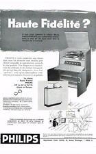 PUBLICITE ADVERTISING  1958   PHILIPS   chaine hi-fi