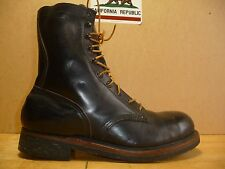 Vintage Safety First Shoe Co. Black Boots Cord Sole. Military/Work/Biker 1970's