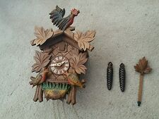 Germany Hubert Herr Black Forest Hand Carved Cuckoo Clock Birds nest w Rooster