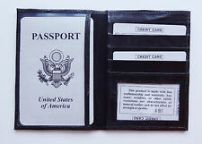Black World PASSPORT COVER Travel Leather ID Window Card Document Case Wallet 86