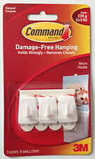 3M Command Micro Hooks Pack of 3 - Hold up to 225g Damage Free Hooks Free P&P