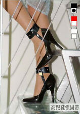 Faux Leather High Heel Shoes Bondage Locking Straps With Locks