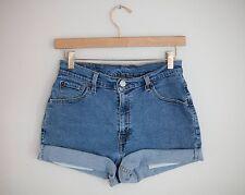 Vintage LEVI'S Medium Blue Wash High Waisted Cut Offs Cuffed Denim Shorts 28/29
