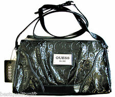 NEW-GUESS FIERY SILVER & BLACK PATENT LOGO LEATHERETTE CROSSBODY BAG,PURSE