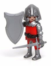 Playmobil Figure Custom Castle Knight w/ Helmet Sword Shield Chainmail Hair 4440