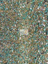 HAND MADE SILK BEADED SEQUINS DRESS FABRIC - Gold/Green - BY YARD RICH