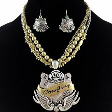 Cowgirl Vintage Western Silver Gold Winged Heart Rhinestone Necklace Earring