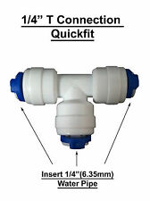 """1/4"""" T Piece Connector Fitting Pushfit for  Reverse Osmosis Tubing , fridge pipe"""