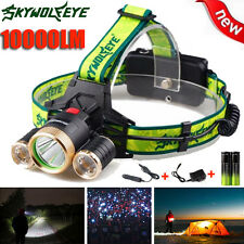 10000LM 3x CREE XM-L T6 LED Headlamp Head Torch Rechargeable Outdoor Headlights
