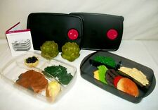 Tupperware CLEAR BLACK Rock N Serve microwave vent ~2 Divided Dish Rectangle