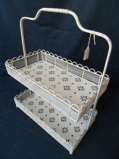 NEW French Shabby Chic CREAM Scroll Metal 2 TIER Display Storage Rack Basket