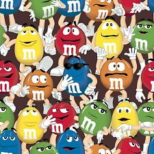 M & M's Funfetti Packed 100% cotton fabric remnant 28""