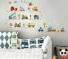 Cartoon School Bus Truck Helicopter Bulldozer Decor Decal Kids Room Wall Sticker