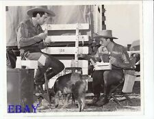 Errol Flynn dines on set w/pet Arno VINTAGE Photo Dodge City Don Turner