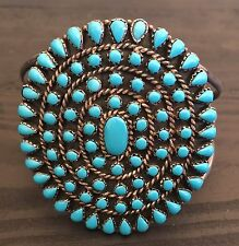 SPECTACULAR TALL VINTAGE NAVAJO TURQUOISE & STERLING SILVER PETI POINT CUFF
