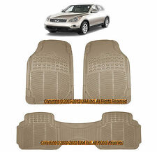 3PC ALL WEATHER BEIGE RUBBER FLOOR MATS SET for INFINITI FX35 QX4 QX56