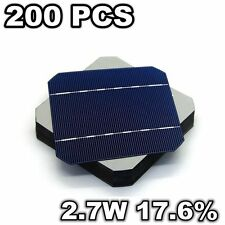 200 Pcs Grade A 17.6%  Mono Solar Cell 125MM 5x5 2.7W For DIY Solar Panel System