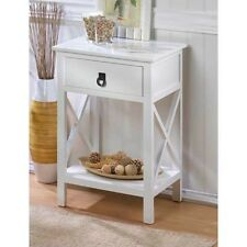 shiny white LACQUER sofa lattice End side bedside Table Nightstand drawer shelf