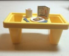 Fisher Price Loving Family Dolllhouse Breakfast in Bed Tray Yellow Food Coffee