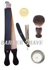 Straight Razor Leather Strop Badger Brush Soap Bowl Set