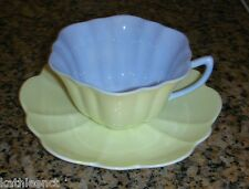 Shelley STRATFORD Shape English Bone China Pastel Yellow & Blue Tea Cup & Saucer