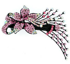 New Black Tone Pink AB Crystal Orchid Flower Spray Hair Clip Barrette