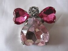 "Pink Valentine Angel Rhinestone Gem Brooch Pin 1.5"" Wide with Gift Bag"