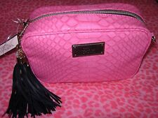 Victoria's Secret Black Crossbody Bag Clutch With Strap Pink NEW!! WOW $42.00
