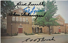 RICK FERRELL CHARLIE GEHRINGER EDD ROUSH TED LYONS SIGNED HALL OF FAME CARD PSA
