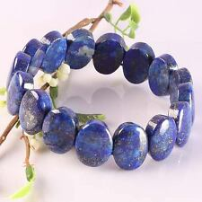 Natural Blue Lapis Lazuli Gemstone Oval Beads Stretchy Bracelet Bangle Wristband