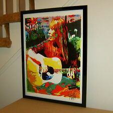 Joni Mitchell, Acoustic Guitar, Singer Songwriter, Folk Rock 18x24 POSTER w/COA2