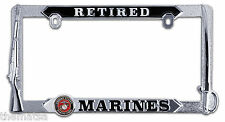 MARINE CORPS RETIRED  3D GRAPHICS CHROME LICENSE PLATE FRAME MADE IN USA