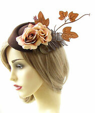 Brown Caramel Rose Leaf Pillbox Hat Fascinator Autumn Races Hair Vtg 1940s 470