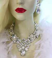Clear Statement Necklace Earring Crystal Rhinestone Bridal Pageant Prom Jewelry