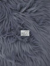 SOLID GRIZZLY SHAGGY FAKE FUR FABRIC - Gray - BY YARD COAT COSTUME SCARF RUG