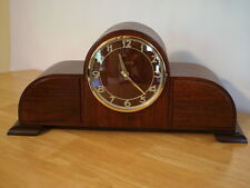ART DECO TAMBOUR MAHOG WOOD MANTEL CLOCK. New ATOMIC  RADIO CONTROL QUARTZ MVMT.