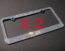 2 PCS 7 Rows GREY(A- Type Screw Cap) Bling Crystal License Plate Frame