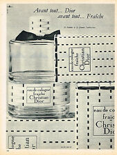 PUBLICITE ADVERTISING   1962   DIOR  eau de Cologne femme FRAICHE