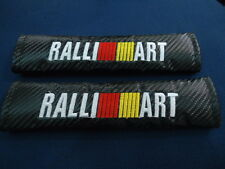 RALLIART SEAT BELT COVER SHOULDER PADS CARBON BLACK X 2 PIECES