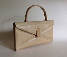 Small Beige Cream Leather 1950s Vintage Handbag Clutch Bag Fabric Lining