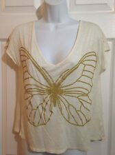 OLSENBOYE Cream Beige, Gold Butterfly Oversized Knit Top Shirt SMALL