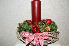 Adventskranz mit Kerze Adventgesteck rot künstlich Weihnachten  Gesteck